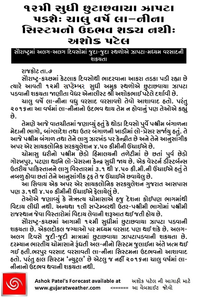 Weather Forecast In Akila Daily & Sanj Samachar Daily Dated