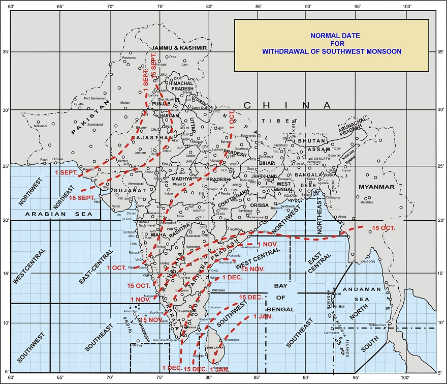Monsoon Withdrawal Map